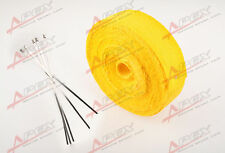 """FIBERGLASS Exhaust Thermo Wrap Tape High Heat 2"""" x 25 FOOT Cloth Roll YELLOW H"""