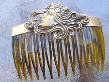 Vintage Hair Comb Hair in the Breeze  Antiqued Brass Faux Shell Comb Made in USA