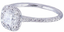 GIA H-SI1 14k White Gold Cushion Cut Diamond Engagement Ring Halo Deco 1.20ctw