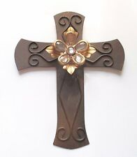 Jeweled Floral Cross, Elegant for Church or Home, 10 Inch
