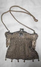 Vintage Victorian German Silver Mesh Evening Bag Purse Ornate