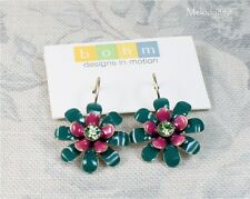Designer BOHM Flower Earrings Gold/Teal Green Pink Vintage 1960s 1950s BNWT