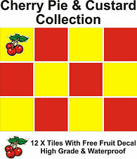 "4"" Tile Transfers Stickers 12 + Free Printed transfer Cherry pie & Custard colle"