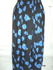 long maxi black & bright blue floral print soft cotton skirt plus size 28+ hols