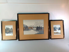 Vintage Set of 3 Silk Screen Artwork of Mountains & Lakeside by Louise D. LeBuis