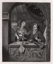 "Antique 1800s Frans van Mieris SIGNED Engraving ""Old Tavern Scene"" FRAMED COA"