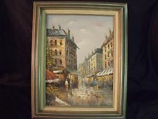 "VINTAGE HENRY ROGERS SIGNED 12"" BY 16"" PARIS STREET SCENE FRAMED OIL PAINTING"