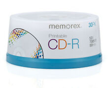 60 New Memorex 52X White Inkjet Printable 700MB CD-R [FREE USPS Priority Mail]