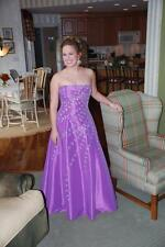 Davids Bridal Lt Purple Strapless Lace Up Beaded Formal Prom Dress Gown Sz M EUC