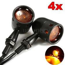 4x Metal Motorcycle Hollow Turn Signal Indicator Light For Harley Bobber Black