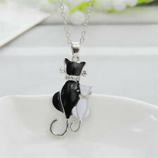 Fashion Women Girl Silver Plated Charm Cat Pendant Chain Necklace Jewelry
