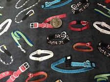 Cute DOG COLLARS & LEASHES Puppy Dogs Novelty Quilt Fabric Fat Quarter FQ FQs