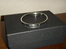 Women's Stainless Steel Oval Silver Tone Bangle Bracelet~White Crystals Pave