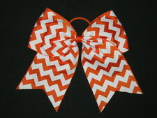 "NEW ""CHEVRON Orange"" Cheer Bow Pony Tail 3"" Ribbon Girls Hair Cheerleading"