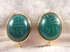 Vtg Carved Glass? Egyptian Scarab Bug Clip/SB Combo Earrings Gold Tn Chrysoprase