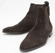 New Handmade Mens Choco Brown Chelsea Suede Leather Boots, Men leather boot
