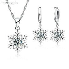 925 Silver Crystal Snowflake Necklace and Earrings Party Gift Jewellery Set