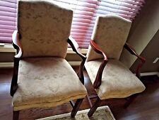 Chippendale Antique Formal Arm Chairs W/Custom Upholstered Fabric Quantity-Two