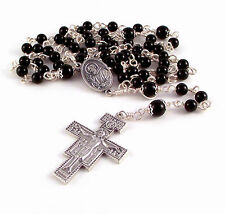 St Padre Pio Relic Rosary Beads For Men Black Onyx Unbreakable Rosaries