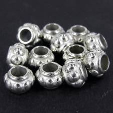 100 x CCB Plastic Silver Spacer Beads Large Hole 12x8mm  Embossed Bobble  NP3