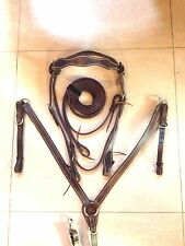 Western Set Of Shaped Brown Leather Buffalo Head stall,Rein Breast Collar Spur