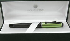 Monteverde Invincia Carbon Fiber & Lime Green Cap Fountain Pen - New -Medium Nib