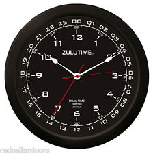 TRINTEC ZULU CLOCK 12 & 24 HOUR DUAL TIME UTC MILITARY HAM SHACK SWL  ZT1401 14""