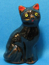 Vintage Black Cat Yellow Eyes Painted Face Red Clay Ceramic Small Figurine Japan