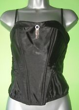 Black wetlook satin feel plastic boned corset top with diamante detail size 10