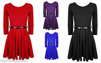 NEW GIRLS LONG SLEEVE  PLAIN SKATER DRESS WITH BELT AGES 7/8 9/10 11/12 & 13