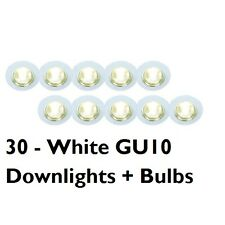 30 X GU10 MAINS 240 VOLT RECESSED DOWNLIGHT SPOTLIGHT DOWNLIGHTER INC BULBS