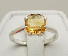 Citrine 1.75 ct - 8mm Cushion Checkerboard Cut Ring Size 7 - Sterling Silver