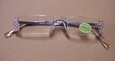 !! CRYSTAL AB  READING  GLASSES READERS with SWAROVSKI ELEMENTS - SILVER 2.25 !!