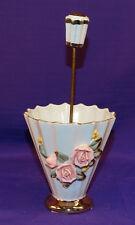 VINTAGE JAPAN NAPCO UMBRELLA VASE W/ PINK PORCELAIN ROSES GOLD GILT MAY BASKET