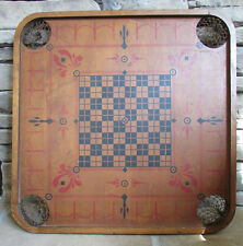 Rare Antique Carrom Double Sided Dated Large Wooden Game Board