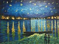 Hand Painted Oil Painting On Canvas Starry Night Over The Rhone Home Decor