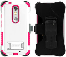 WHITE PINK TRI-SHIELD CASE + BELT CLIP HOLSTER STAND FOR MOTOROLA DROID TURBO 2