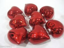 "Lot of (8) Valentines Day Shiny Red Hearts 2.5"" Ornaments Decorations Decor"