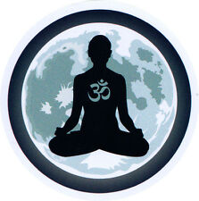 Moon Meditation Design with Om Symbol - Small Bumper Sticker / Decal