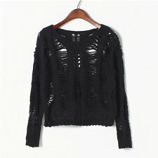 Women Girls Crochet Hollow Crop Loose Pullover Knit Jumper Top Sweater