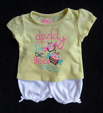 Baby clothes GIRL premature/tiny 7.5lbs/3.4kg outfit yellow/pink t-shirt/shorts