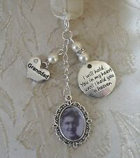 Vintage Inspired Ivory Granddad Memorial Bouquet Photo Charm Wedding/Bridal