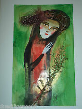 Cuban Cuba Artist Charo Hand SIGNED PaintiNG LADY FANCY FEATHER ART HAVANA 29
