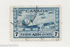 1943 Canada OC8 Θ used OHMS perfin WWII RCAF airmail, cds '46 cancel