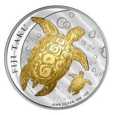 Fiji 2012 $2 Gilded Fiji Double Taku 1 Oz Gold-plated Silver Proof Coin