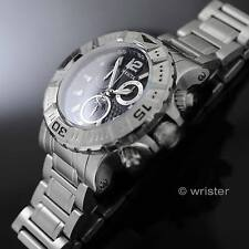 Swiss Made Invicta Reserve Chrono Black Dial Stainless Steel 48mm Mens Watch NEW