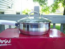 "NIB~PARINI SIGNATURE SERIES!~STAINLESS STEEL 9.5"" CHICKEN FRYER PAN WITH LID!~"