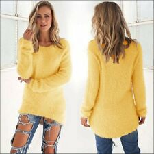 Women's Bright Yellow Long Sleeve Loose Fluffy Fuzzy Light Sweater Shirt  Sz M