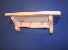 "rustic country pine wooden shelf with 3 pegs, 12"" unfinished wall shelf"