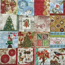 20 Mixed Christmas Paper Napkins Decoupage LOT Tree Ornaments Beverage Craft